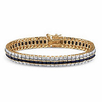 13.75 TCW Princess-Cut Midnight Sapphire and Diamond Accented Tennis Bracelet in 18k Gold-Plated