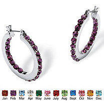 Birthstone Inside Out Hoop Earrings in Silvertone