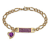 Birthstone I.D. Plaque and Heart Charm Figaro Link Bracelet in Yellow Gold Tone 7
