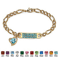 Birthstone I.D. Plaque and Heart Charm Figaro Link Bracelet in Yellow Gold Tone 7""
