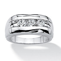 Men's .84 TCW Round Cubic Zirconia Ring in Platinum Plated