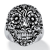 Flowery Skull Ring in Platinum Plated