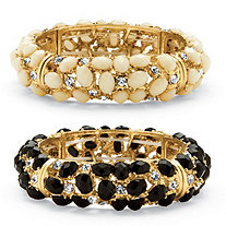 2 Piece Ecru and Black Cabochon and Crystal Bracelet Set in Yellow Gold Tone.