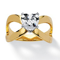 1.17 TCW Heart-Cut Cubic Zirconia Infinity Ring in 14k Gold-Plated