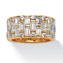 8.26 TCW Baguette and Round Cubic Zirconia Basket Weave Eternity Band in 14k Gold-Plated