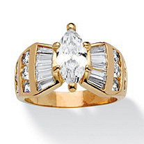 3.69 TCW Marquise-Cut Cubic Zirconia Ring in 14k Gold-Plated