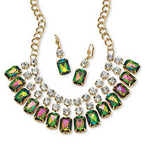 2 Piece Emerald-Cut Mystic Crystal Bib Necklace and Earrings Set in Yellow Gold Tone