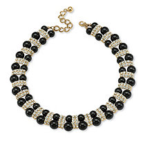 Black Beaded Necklace with Crystal Accents in Yellow Gold Tone