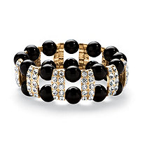 Black Beaded Bracelet with Crystal Accents in Yellow Gold Tone
