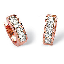 4 TCW Princess-Cut Cubic Zirconia Huggie Hoop Earrings in Rose Gold-Plated