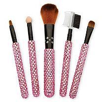 5 Piece Pink Crystal Encrusted Make-Up Brush Set