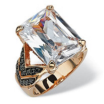 19.64 TCW Emerald-Cut Cubic Zirconia and Black CZ Chevron Ring in Rose Gold-Plated