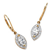 2.12 TCW Marquise-Cut Cubic Zirconia Drop Earrings in 18k Gold Over Sterling Silver