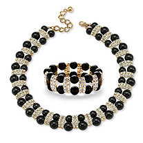 2 Piece Black Beaded Necklace and Bracelet Set in Yellow Gold Tone