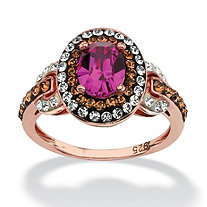 Oval-Cut Fuschia Crystal Ring Made with SWAROVSKI ELEMENTS in Rose Gold over Sterling Silver