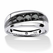 Men's 3/4 TCW Channel Set Black Diamond Ring in Platinum over Sterling Silver