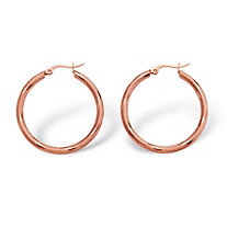 Textured Hoop Earrings in Rose-Ion Plated Stainless Steel