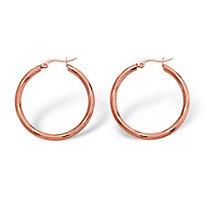 Textured Hoop Earrings in Rose-Ion Plated Stainless Steel