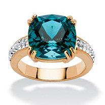 Cushion-Cut Denim Blue Crystal Ring Made with SWAROVSKI ELEMENTS
