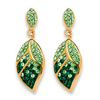 Pave Evergreen and Light Green Leaf Drop Earrings Made with SWAROVSKI ELEMENTS in Yellow Gold Tone