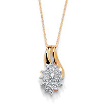 Diamond Accented Cluster Pendant Necklace in 18k Gold over Sterling Silver 18""