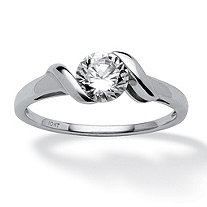 .90 TCW Round Cubic Zirconia Twist Ring in 10k White Gold