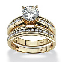 2 Piece 1.91 TCW Round Cubic Zirconia Bridal Ring Set in 10k Gold