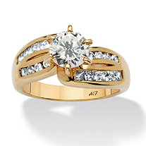 2 TCW Round Cubic Zirconia Ring in 10k Gold