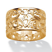 Ornate Scroll Design Band in 18k Gold over Sterling Silver