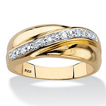 Men's 1/10 TCW Round Diamond Wave Ring in 18k Gold over Sterling Silver