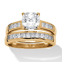 2 Piece 1.94 TCW Round Cubic Zirconia Bridal Ring Set in 18k Gold over Sterling Silver