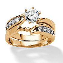 2 Piece .86 TCW Round Cubic Zirconia Twist Bridal Ring Set in 18k Gold over Sterling Silver