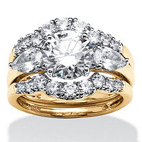 3 Piece 3.45 TCW Round Cubic Zirconia Bridal Ring Set in 18k Gold over Sterling Silver