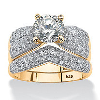 2 Piece 3.21 TCW Round Cubic Zirconia Bridal Ring Set in 14k Gold over Sterling Silver
