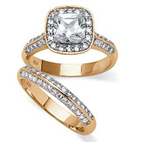 2 Piece 2.08 TCW Princess-Cut Cubic Zirconia Bridal Ring Set in 14k Gold over Sterling Silver