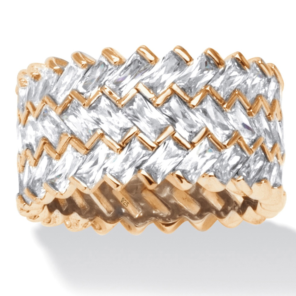PalmBeach Jewelry 9.66 TCW Baguette Chevron Cubic Zirconia Eternity Ring in 14k Gold over Sterling Silver at Sears.com