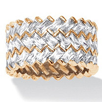 9.66 TCW Baguette Chevron Cubic Zirconia Eternity Ring in 14k Gold over Sterling Silver