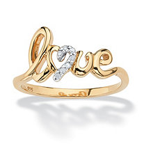 Diamond Accent Love Ring in 18k Gold over Sterling Silver