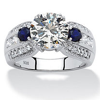 3.91 TCW Round Cubic Zirconia and Sapphire Ring in Platinum over Sterling Silver
