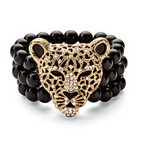 Onyx and Crystal Leopard Stretch Bracelet in Yellow Gold Tone