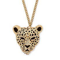 Onyx and Crystal Leopard Pendant Necklace in Yellow Gold Tone