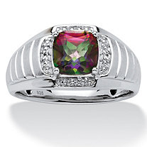 Men's 2.62 TCW Cushion-Cut Fire Topaz and White Sapphire Ring in Platinum over Sterling Silver