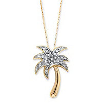 Diamond Accent Palm Tree Pendant Necklace in 18k Gold over Sterling Silver