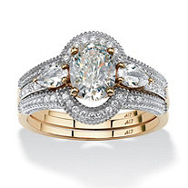 3 Piece 19.33 TCW Oval-Cut Cubic Zirconia Halo Bridal Ring Set in 10k Gold