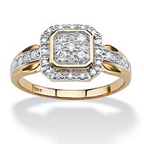 3/8 TCW Round Diamond Square Halo Ring in 10k Gold