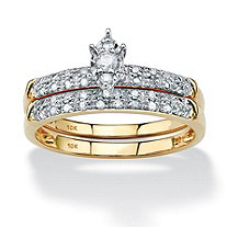 2 Piece 1/5 TCW Marquise-Cut Diamond Bridal Ring Set in 10k Gold