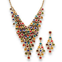 2 Piece Multi-Color Crystal Necklace and Earrings Set in Yellow Gold Tone