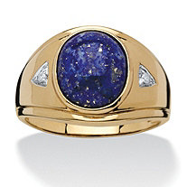 Men's 3.30 TCW Oval-Cut Lapis Diamond Accented Ring in 18k Gold over Sterling Silver