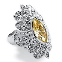 2.48 TCW Marquise-Cut Canary Cubic Zirconia Foliage Cocktail Ring in Platinum-Plated