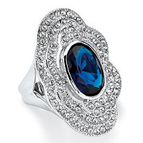 Oval-Cut Blue Crystal Vintage Inspired Cocktail Ring in Platinum-Plated